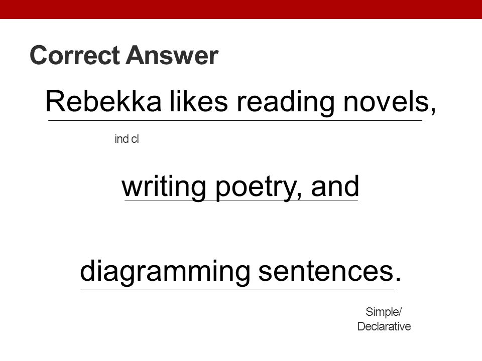 Correct Answer Rebekka likes reading novels, writing poetry, and diagramming sentences. ind cl. Simple/