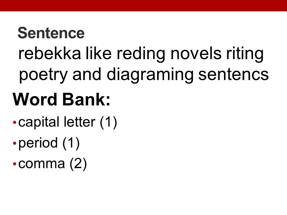 rebekka like reding novels riting poetry and diagraming sentencs
