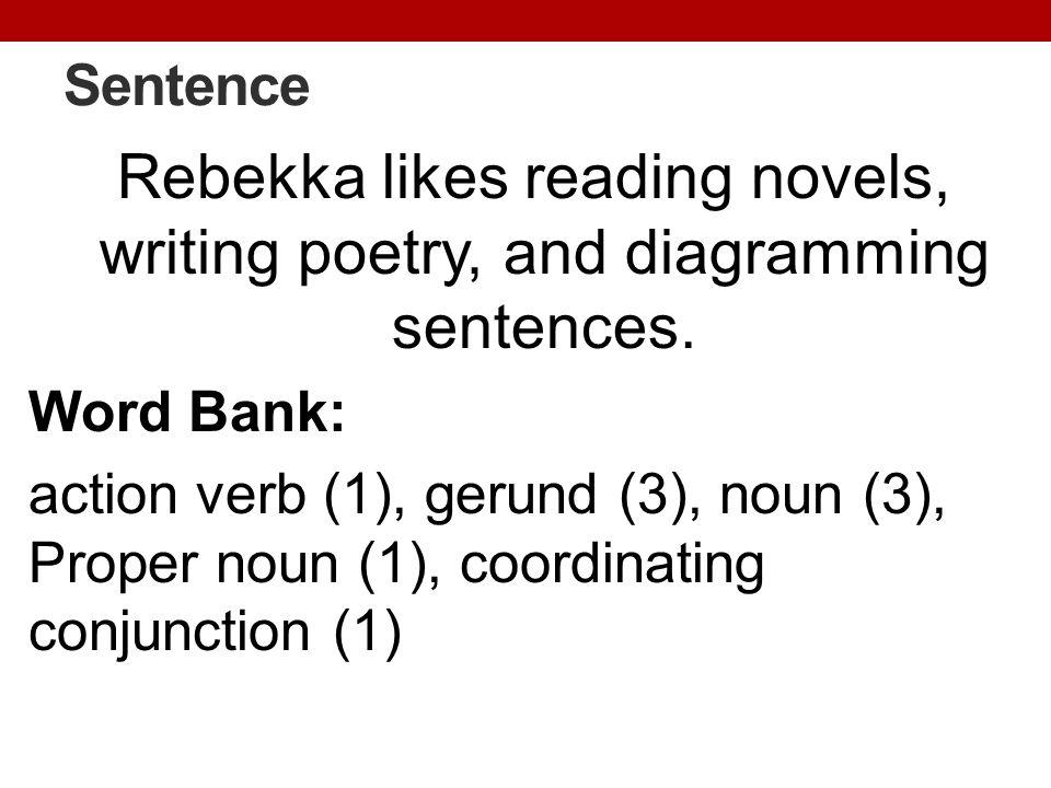 Sentence Rebekka likes reading novels, writing poetry, and diagramming sentences. Word Bank: