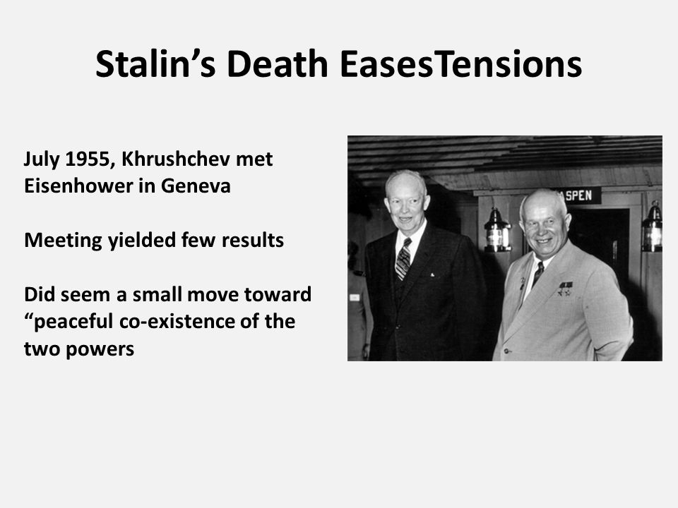 Stalin's Death EasesTensions