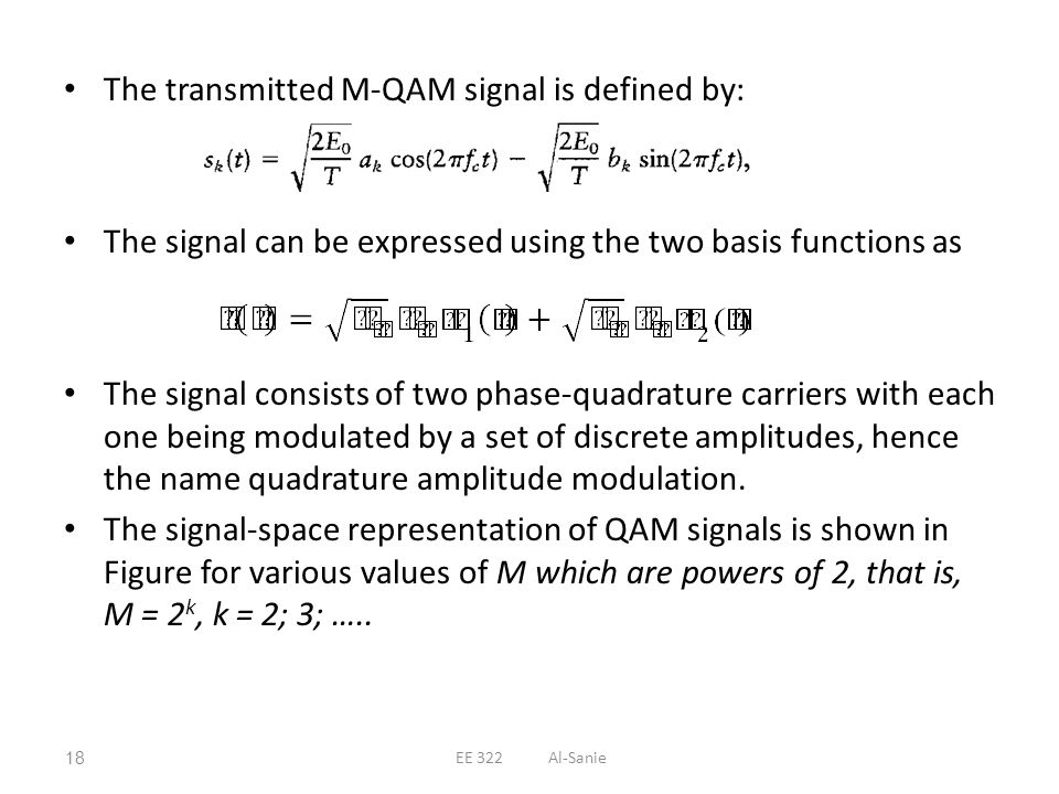 The transmitted M-QAM signal is defined by: