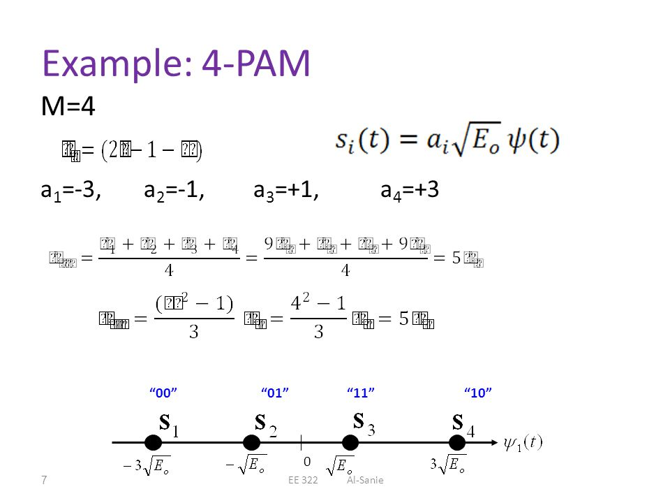 Example: 4-PAM M=4 a1=-3, a2=-1, a3=+1, a4=+3 00 01 11 10
