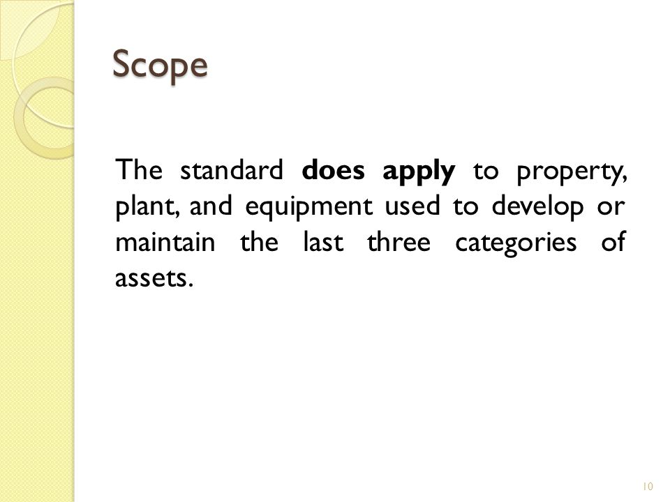 Scope The standard does apply to property, plant, and equipment used to develop or maintain the last three categories of assets.