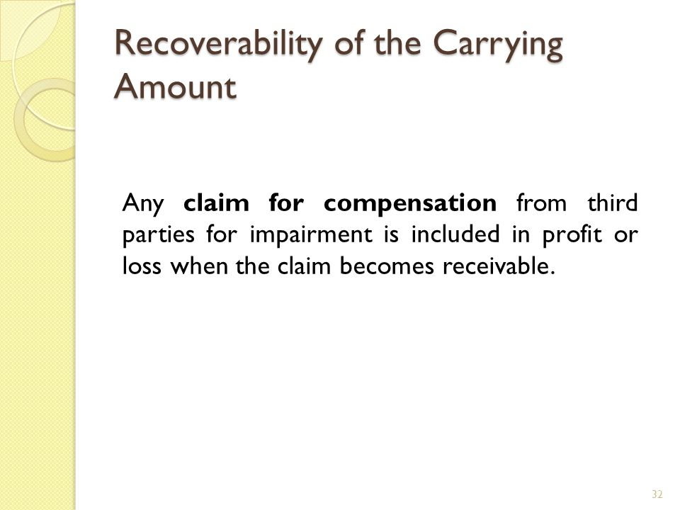 Recoverability of the Carrying Amount