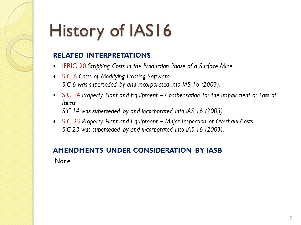 History of IAS16 RELATED INTERPRETATIONS