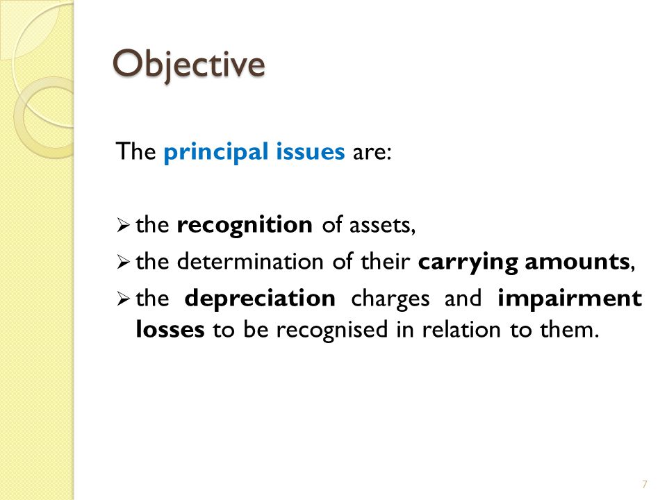 Objective The principal issues are: the recognition of assets,