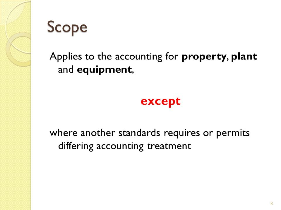 Scope Applies to the accounting for property, plant and equipment, except.