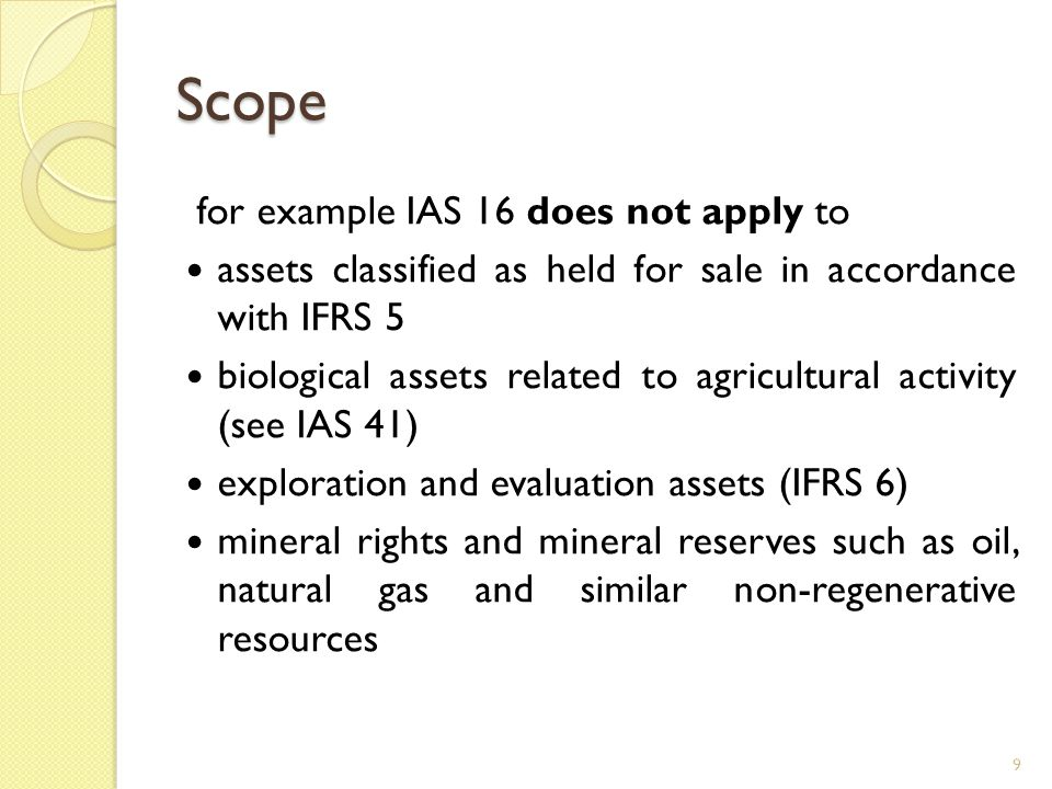 Scope for example IAS 16 does not apply to