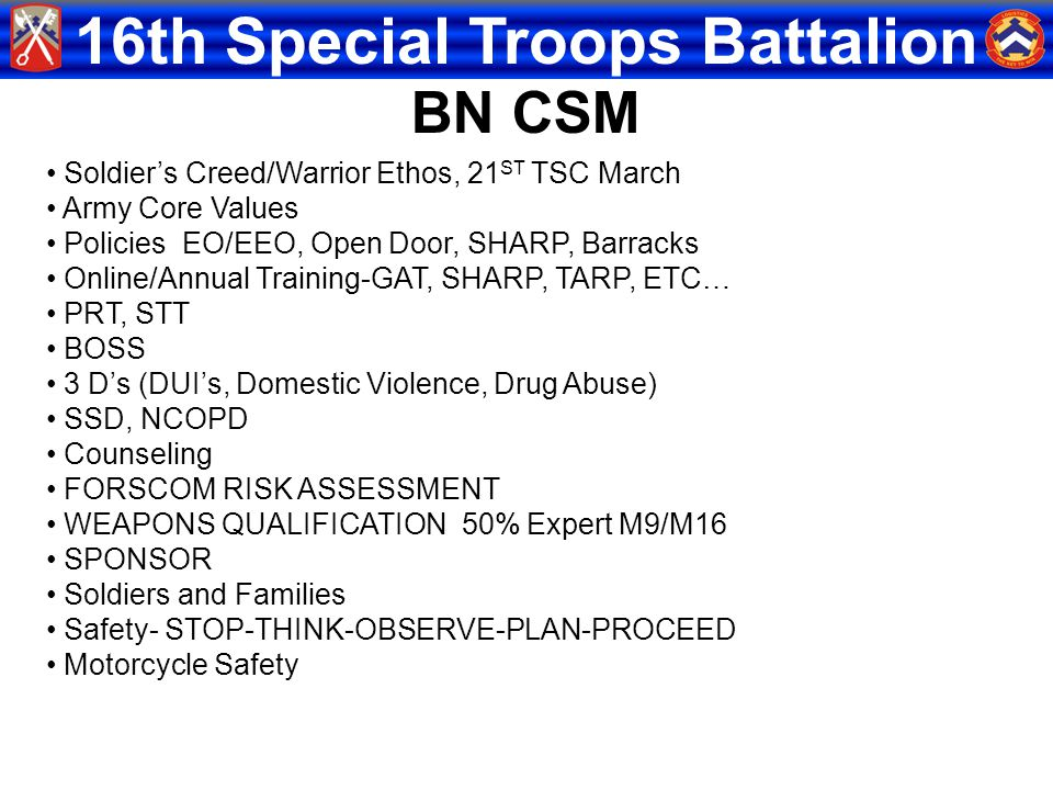 BN CSM Soldier's Creed/Warrior Ethos, 21ST TSC March Army Core Values