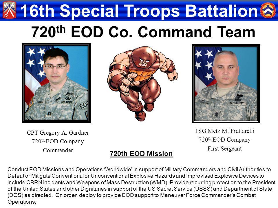 720th EOD Co. Command Team 720th EOD Mission 1SG Metz M. Frattarelli