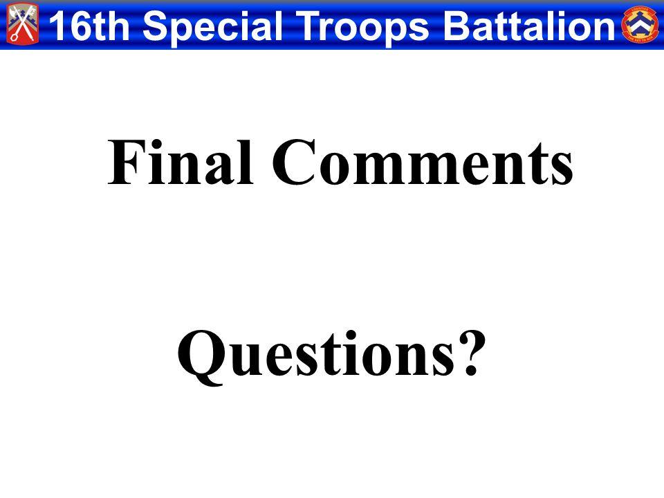 Final Comments Questions