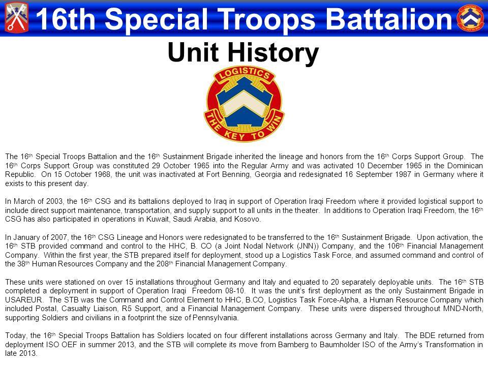 Unit History CSM Brown slide