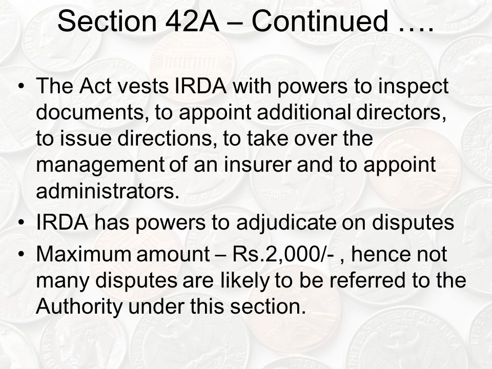 Section 42A – Continued ….