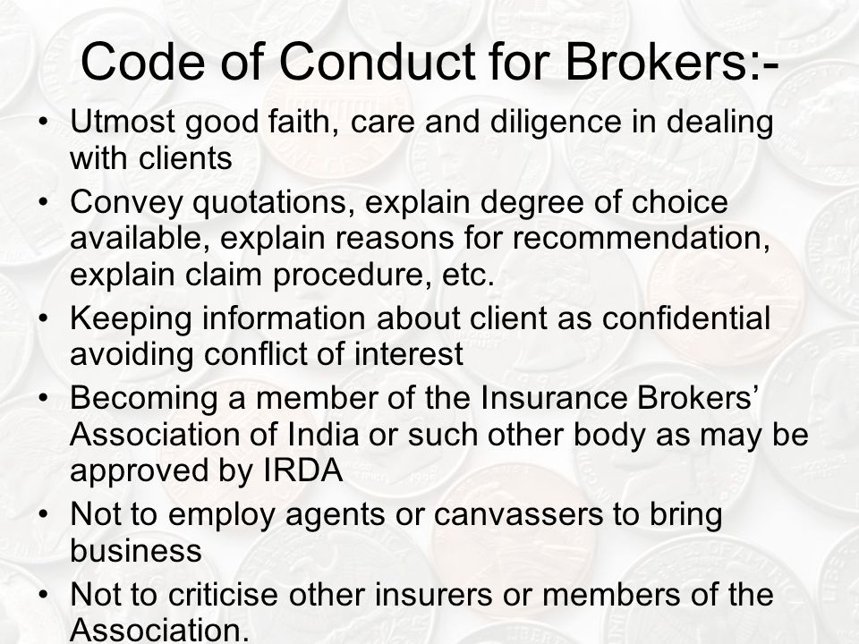 Code of Conduct for Brokers:-