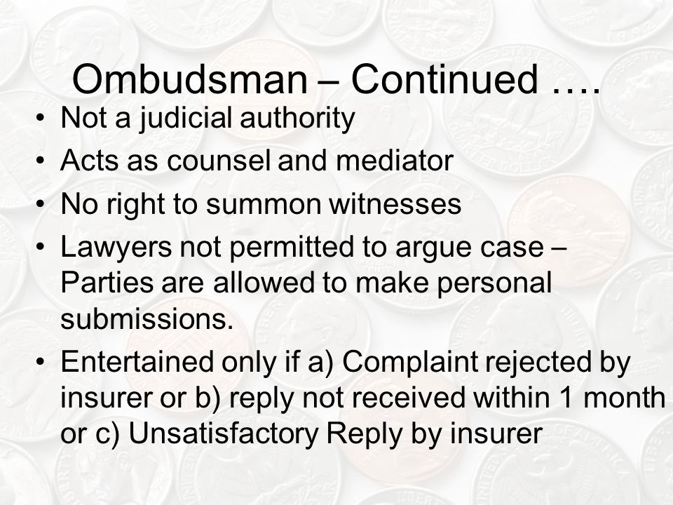 Ombudsman – Continued ….