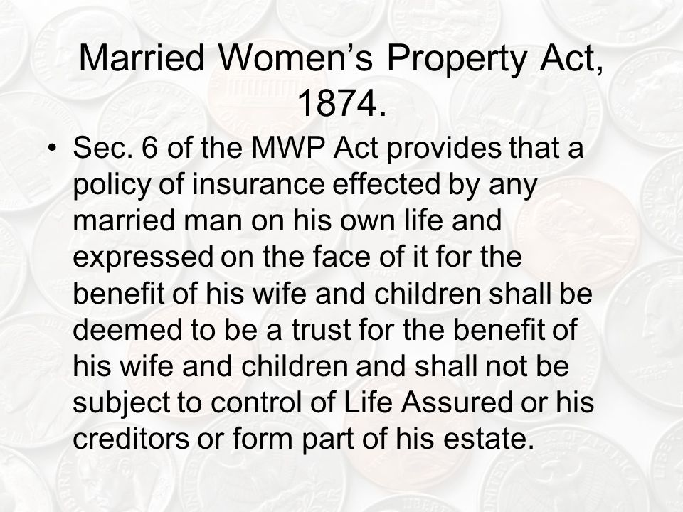 Married Women's Property Act, 1874.