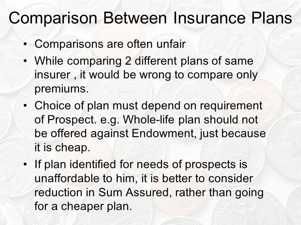 Comparison Between Insurance Plans