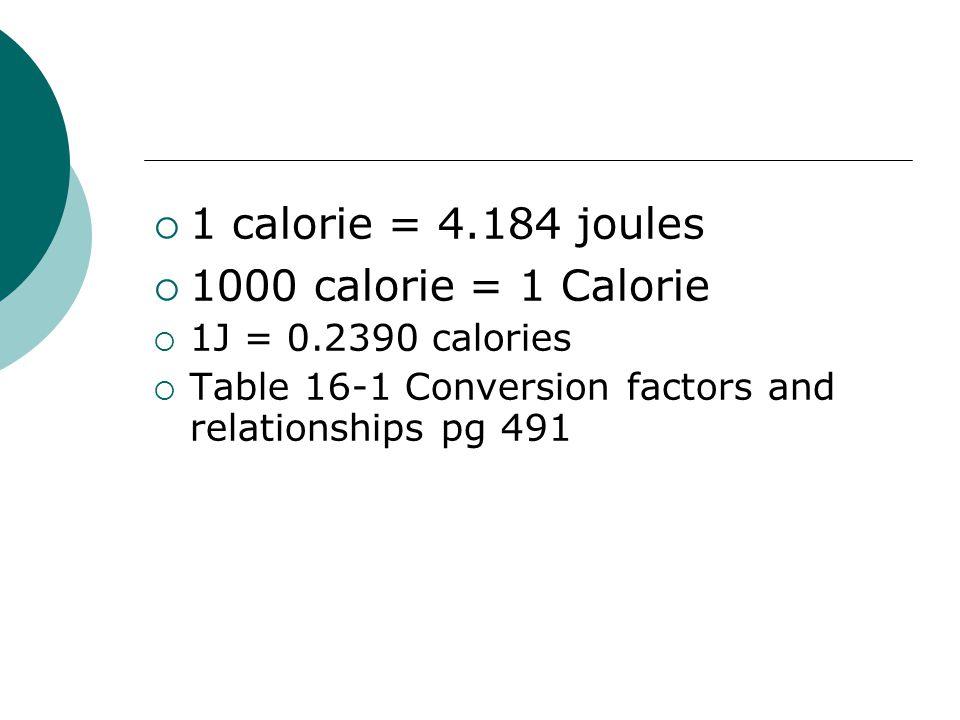 1 calorie = 4.184 joules 1000 calorie = 1 Calorie 1J = 0.2390 calories