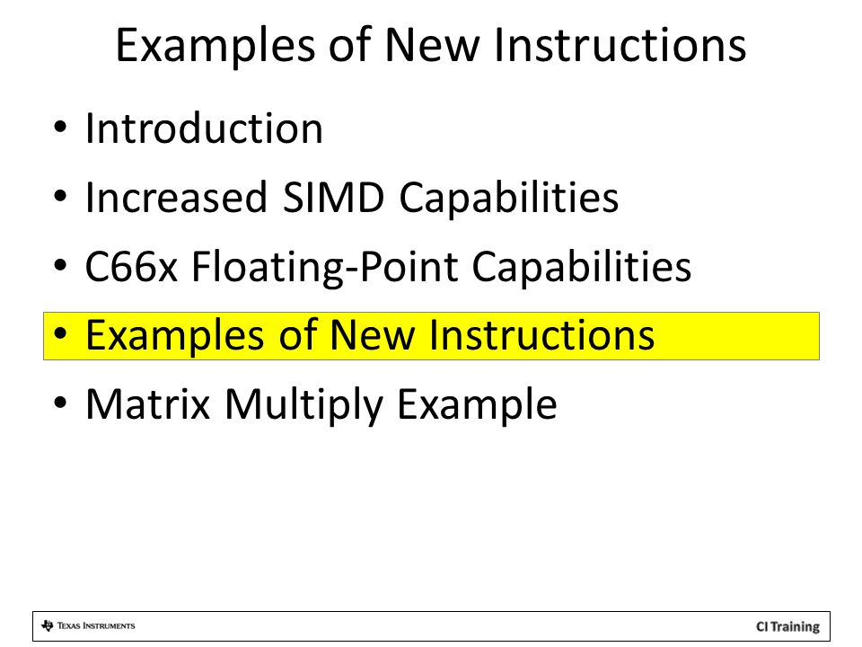 Examples of New Instructions
