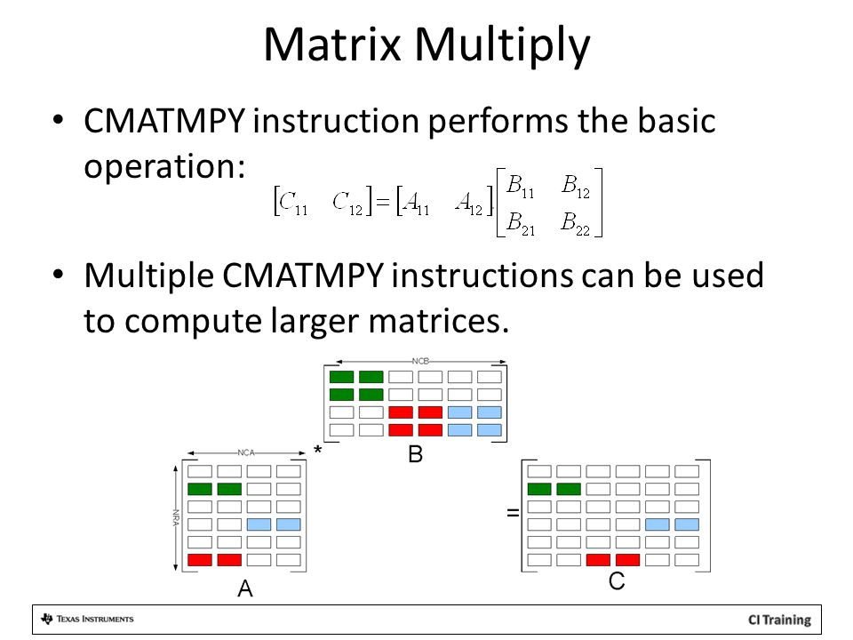 Matrix Multiply CMATMPY instruction performs the basic operation: