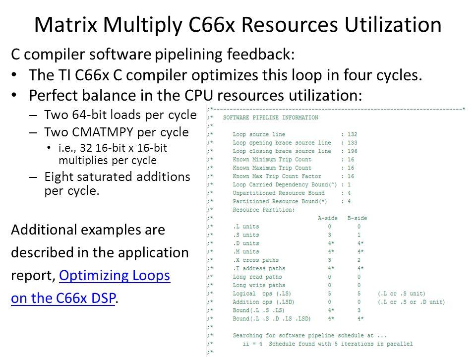Matrix Multiply C66x Resources Utilization