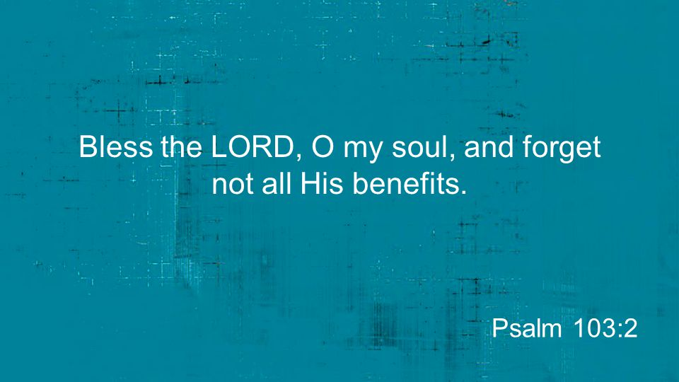 Bless the LORD, O my soul, and forget not all His benefits.