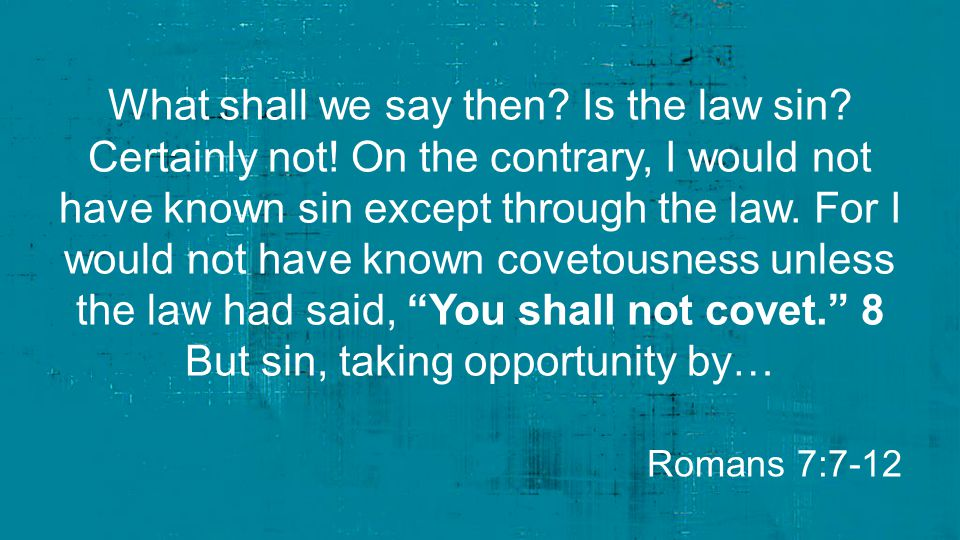What shall we say then. Is the law sin. Certainly not