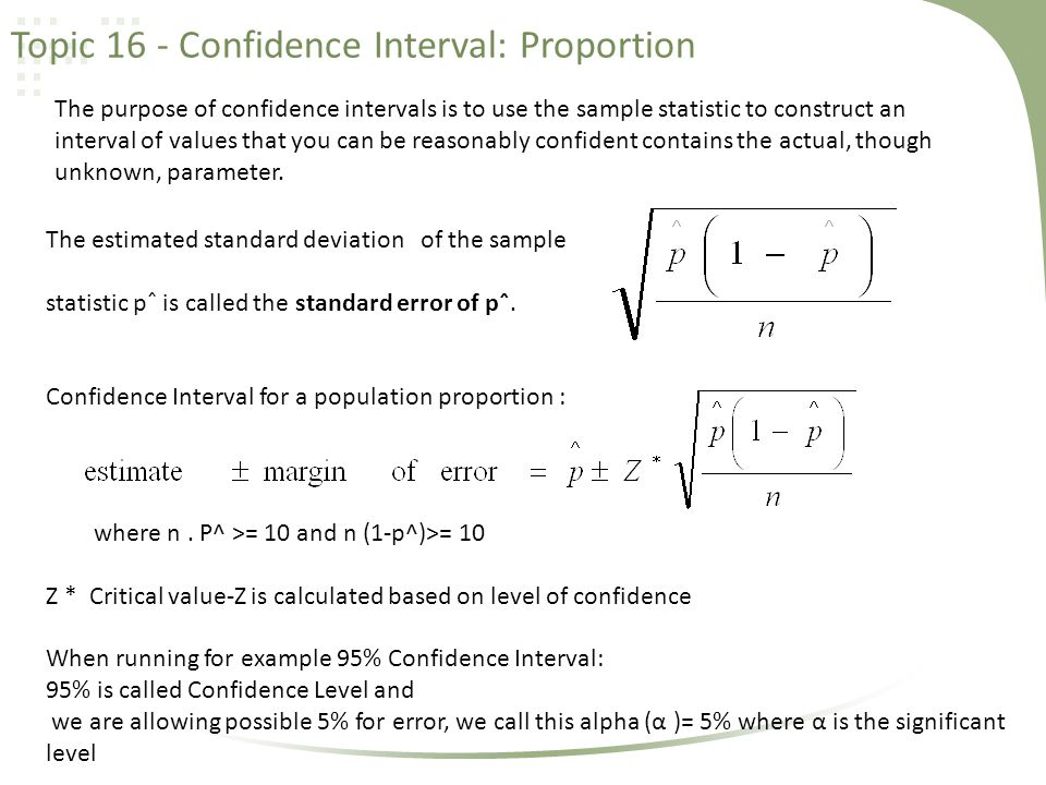 Topic 16 - Confidence Interval: Proportion