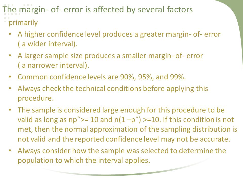 The margin- of- error is affected by several factors