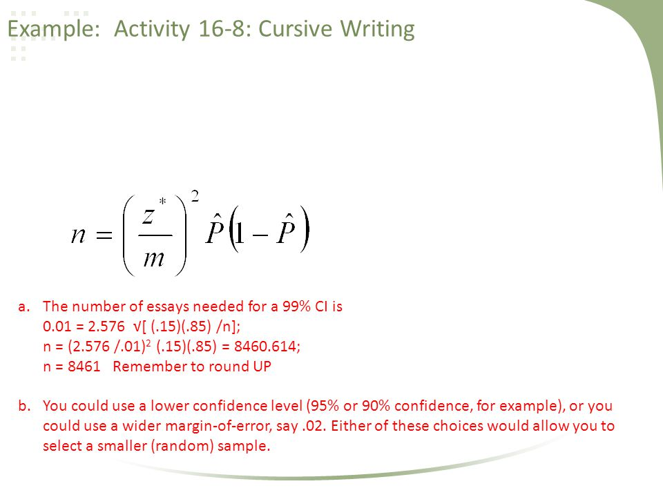 Example: Activity 16-8: Cursive Writing