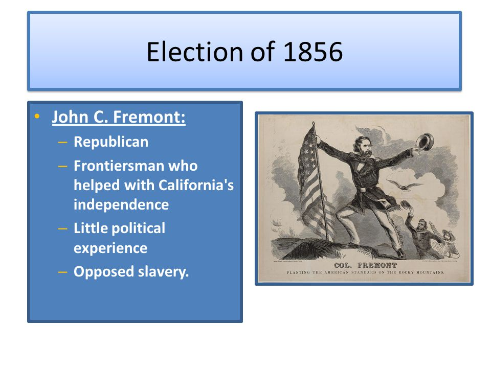 Election of 1856 John C. Fremont: Republican