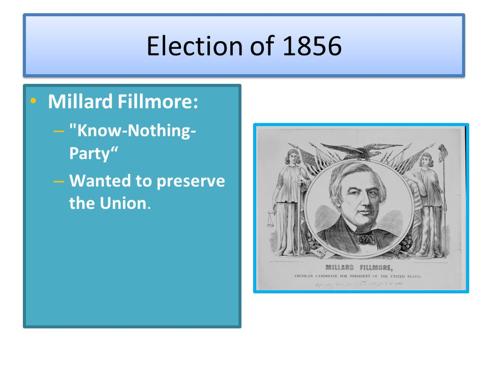 Election of 1856 Millard Fillmore: Know-Nothing-Party