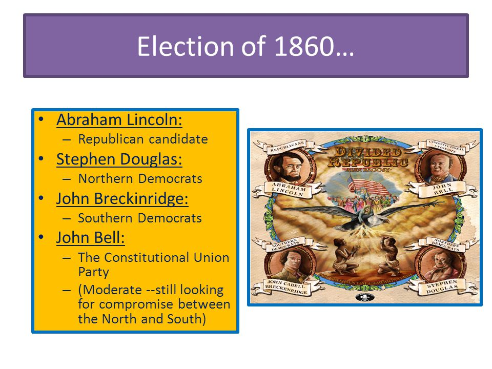 Election of 1860… Abraham Lincoln: Stephen Douglas: John Breckinridge: