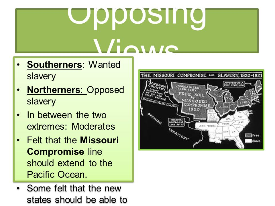 Opposing Views Southerners: Wanted slavery