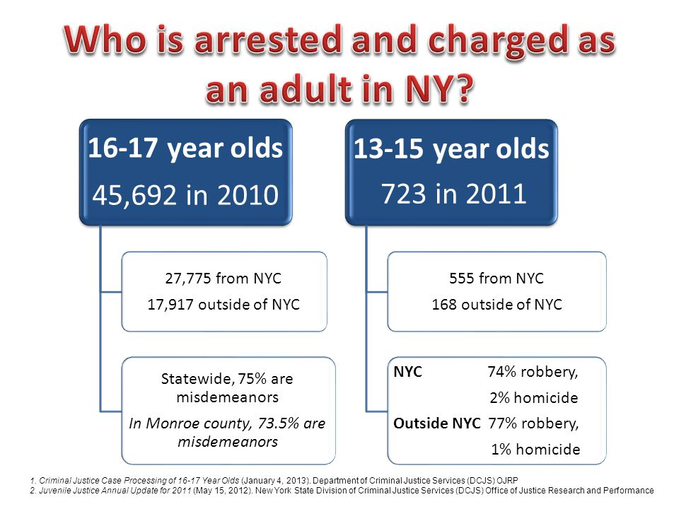 Who is arrested and charged as an adult in NY