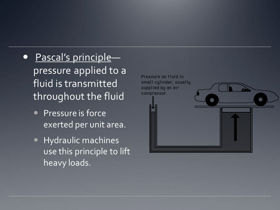 Pascal's principle— pressure applied to a fluid is transmitted throughout the fluid