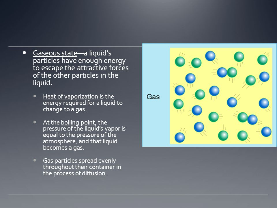 Gaseous state—a liquid's particles have enough energy to escape the attractive forces of the other particles in the liquid.
