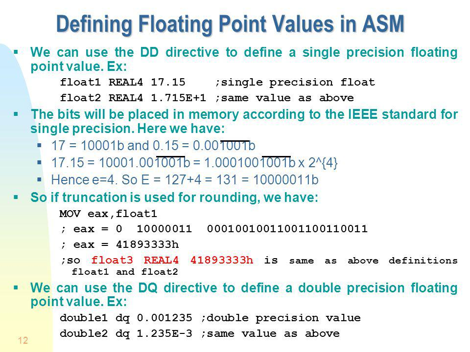 Defining Floating Point Values in ASM