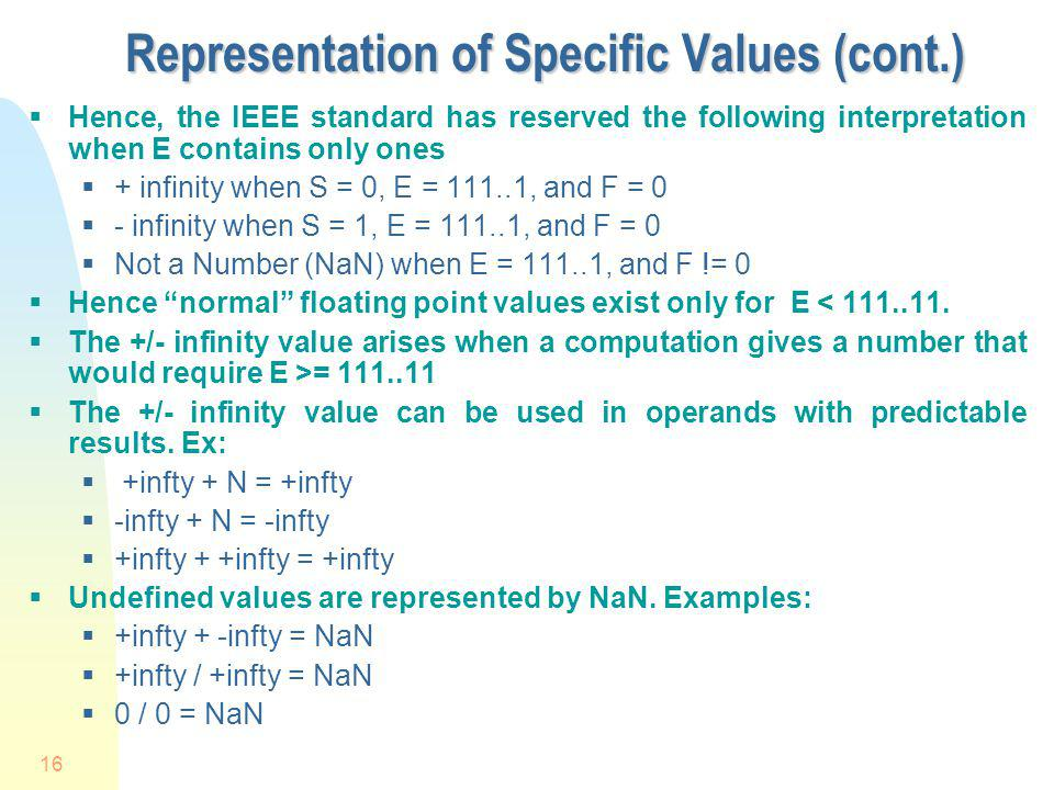 Representation of Specific Values (cont.)