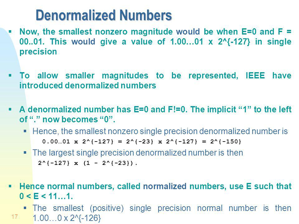 Denormalized Numbers