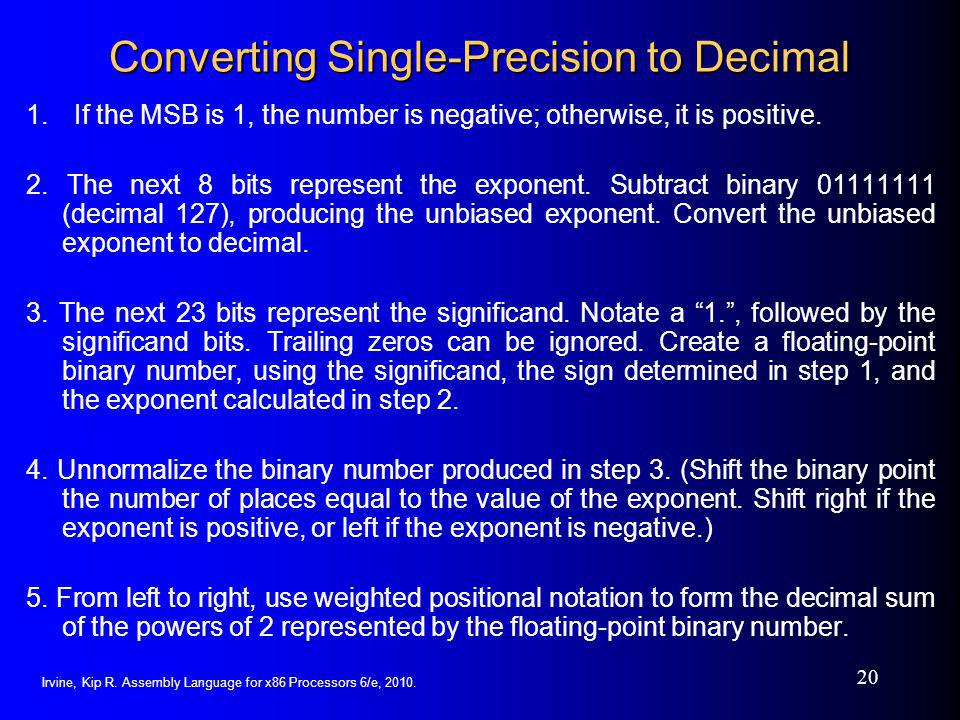 Converting Single-Precision to Decimal