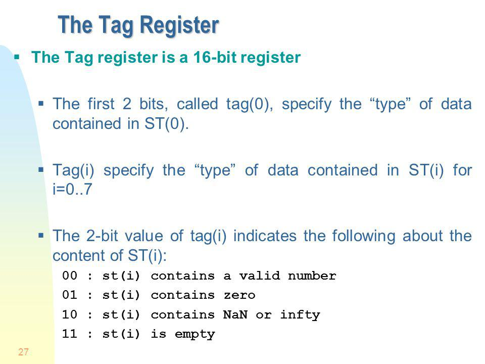 The Tag Register The Tag register is a 16-bit register
