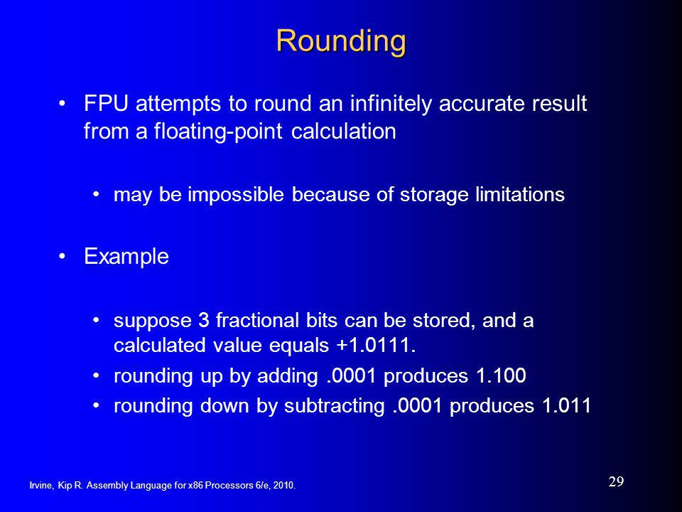 Rounding FPU attempts to round an infinitely accurate result from a floating-point calculation. may be impossible because of storage limitations.