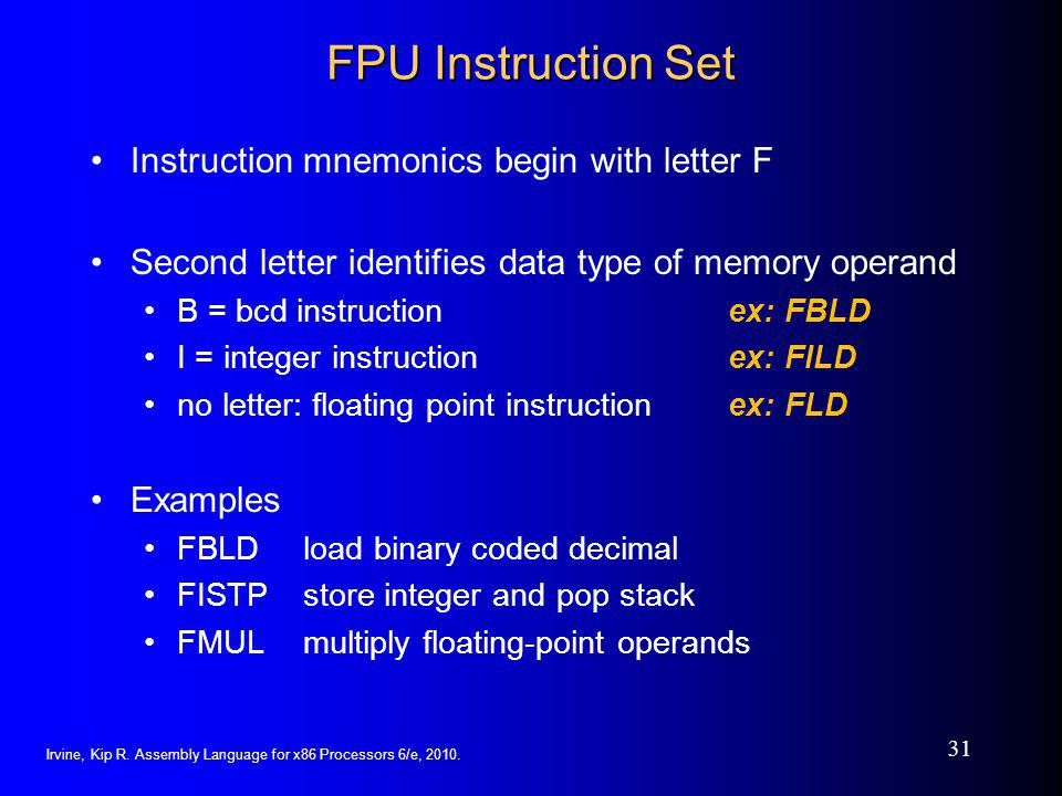 FPU Instruction Set Instruction mnemonics begin with letter F