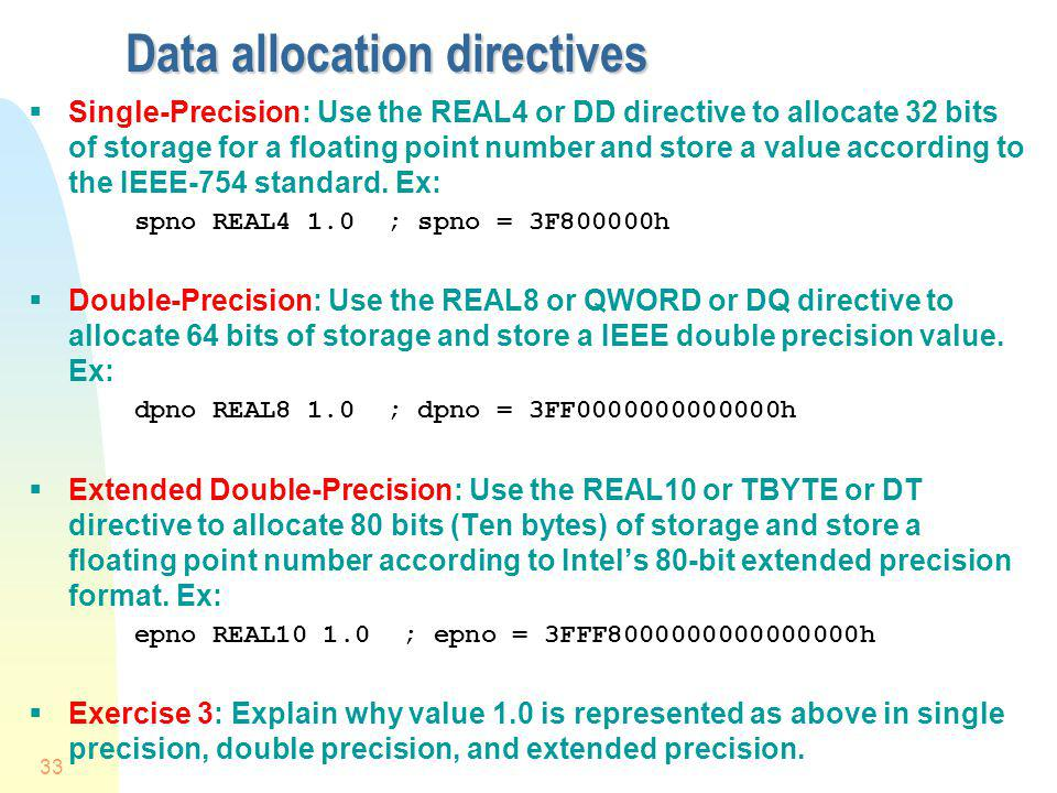 Data allocation directives