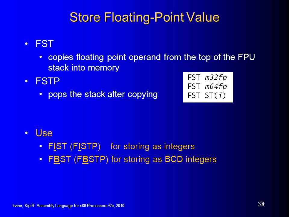 Store Floating-Point Value