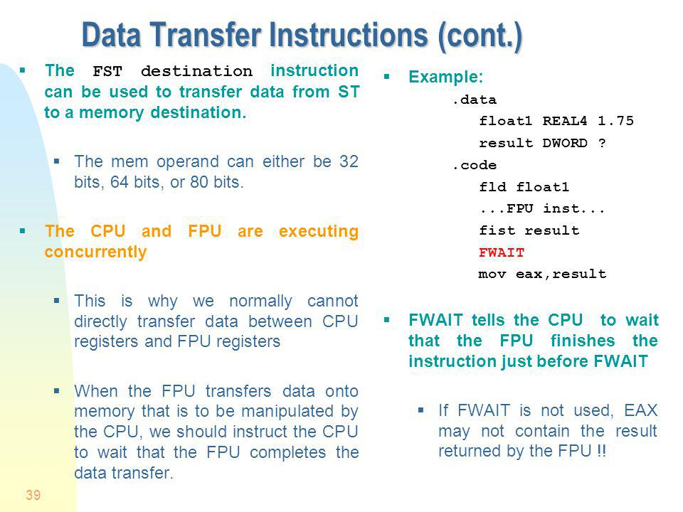 Data Transfer Instructions (cont.)