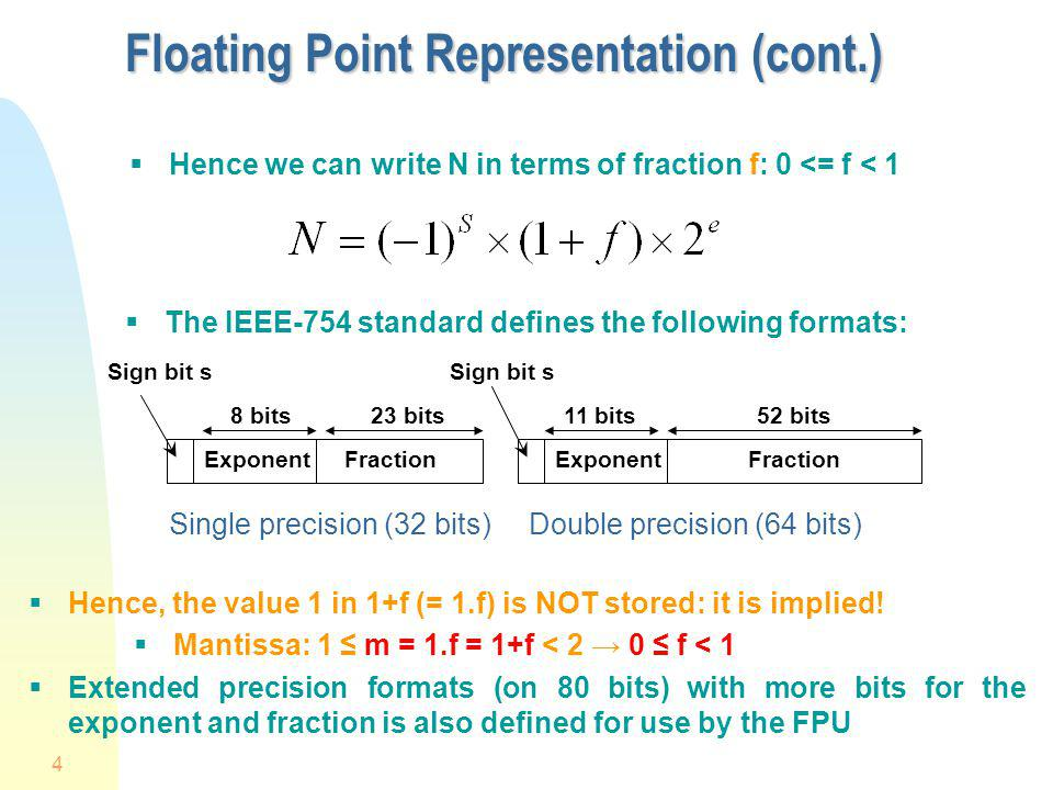 Floating Point Representation (cont.)