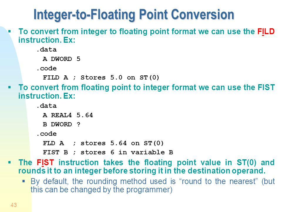 Integer-to-Floating Point Conversion