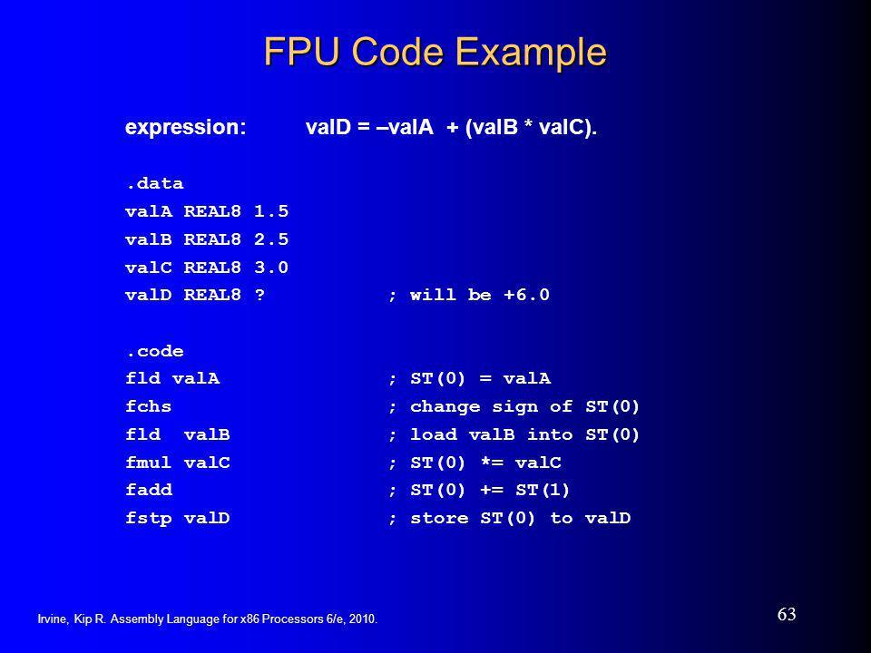 FPU Code Example expression: valD = –valA + (valB * valC). .data